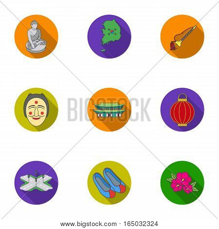 South Korea set icons in flat style. Big collection of South Korea vector symbol stock