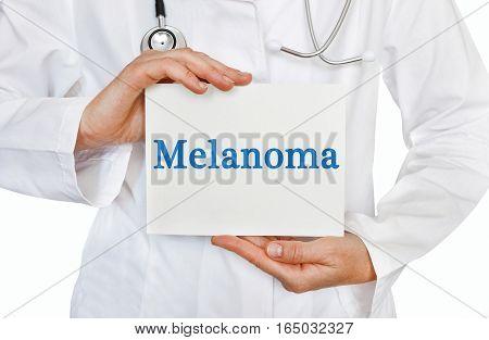 Melanoma Card In Hands Of Medical Doctor
