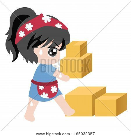 vector for business, maid holding crate,flat design