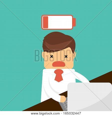 Businessman Feeling Tired And Low Power Battery.. Business Concept .