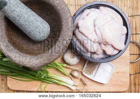 Ingredient of fried chicken wings / cooking fried chicken wings concepted