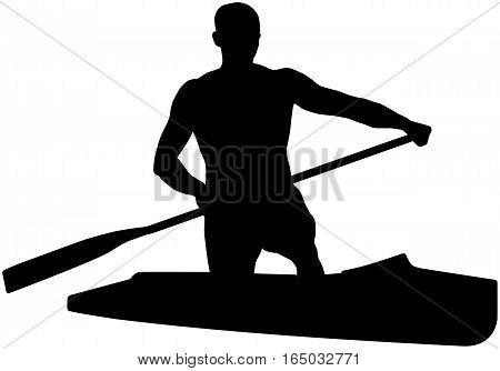 black silhouette canoeing athlete sports canoe with paddle