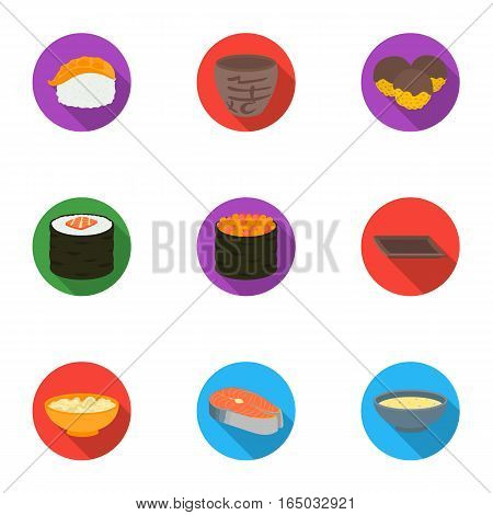 Sushi set icons in flat style. Big collection of sushi vector symbol stock