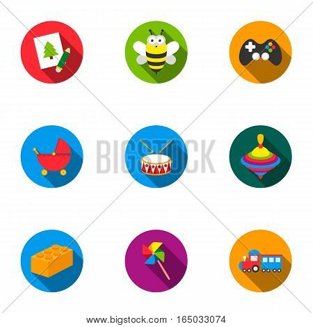 Toys set icons in flat style. Big collection of toys vector symbol stock
