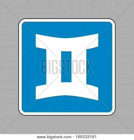 Gemini sign. White icon on blue sign as background.