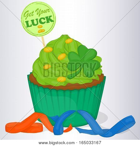 Yummy cupcake for St. Patrick's day with ribbons and good luck wishes. Background for St. Patrick's day in simple cartoon style. Vector illustration. Holiday Collection.