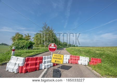 Blocked road in Loire valley during summer floods
