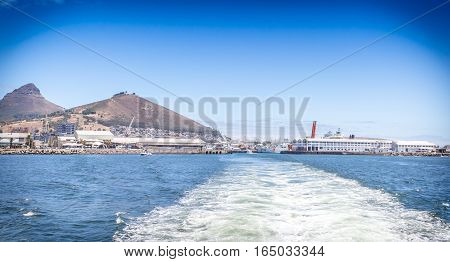 Wake of boat leaving harbour at Victoria & Alfred Waterfront Cape Town'