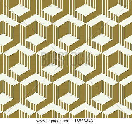 Graphic simple ornamental tile vector repeated pattern made using cubes and hexagons. Vintage art abstract seamless texture