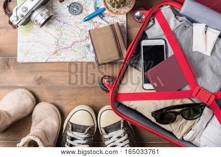 Travel Accessories Costumes. Passports, Luggage, Camera, Sunglasses, Boot, Sneaker