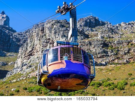 Cableway from Table Mountain with car coming down to station