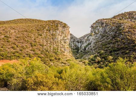 Chasm in mountain near Meiring's Poort de Rust South Africa