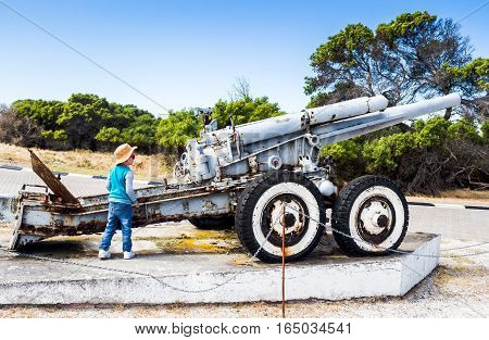 Rusty old howitzer on Robben Island South Africa