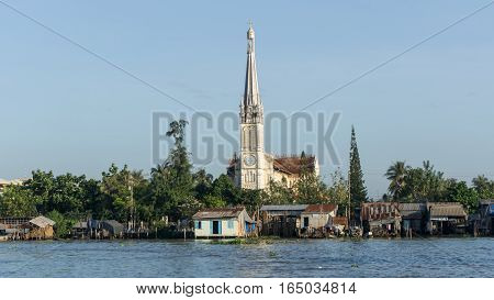 Mekong, Vietnam - November 29, 2015: The Catholic Church in Mekong Delta, Vietnam. Mekong Delta is the region in southwestern Vietnam where the Mekong River approaches.