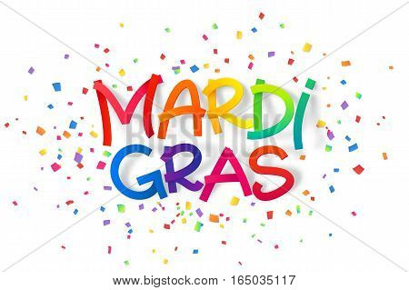 Rainbow colors vector Mardi Gras sign on colorful confetti background