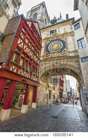 ROUEN, FRANCE - JUNE 2016: The Great Clock of Rouen