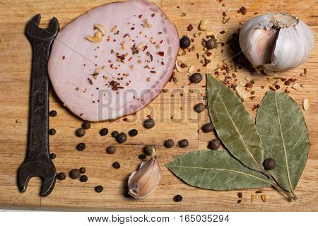 Spices On A Cutting Board, Bacon