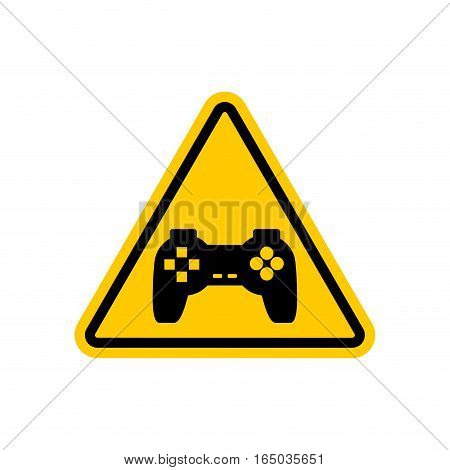 Attention Video Games. Dangers Of Yellow Road Sign Gamepad. Caution Joystick. Gadget Console. Videog