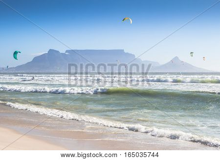 Kite surfers at Blouberg Beach Cape Town South Africa