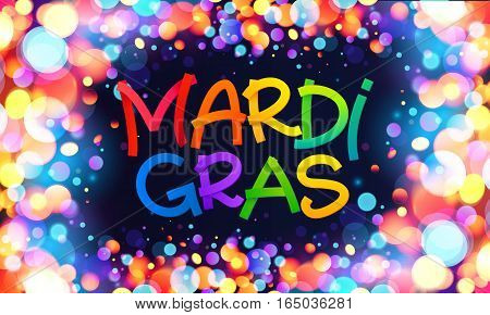 Colorful Mardi Gras vector sign on dark blue background with shining bokeh lights frame