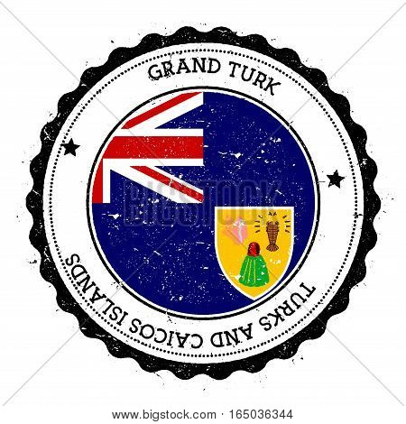 Grand Turk Island Flag Badge. Vintage Travel Stamp With Circular Text, Stars And Island Flag Inside