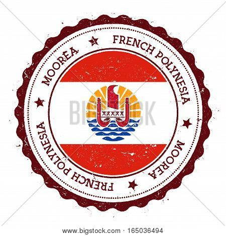 Moorea Flag Badge. Vintage Travel Stamp With Circular Text, Stars And Island Flag Inside It. Vector