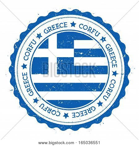 Corfu Flag Badge. Vintage Travel Stamp With Circular Text, Stars And Island Flag Inside It. Vector I