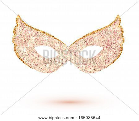 Pink glitter vector carnival mask isolated on white background