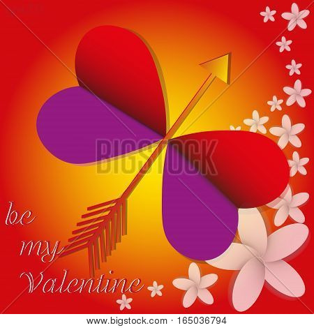 Butterfly love flower valentine Abstract composition greeting card insect wings heart Two bouquet of red arrow shadow text yellow circle eps10 vector illustration design Stock author