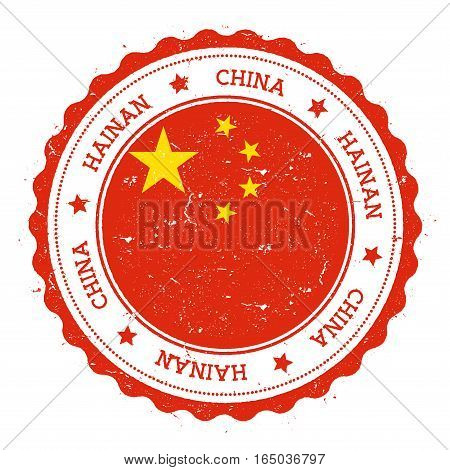 Hainan Flag Badge. Vintage Travel Stamp With Circular Text, Stars And Island Flag Inside It. Vector