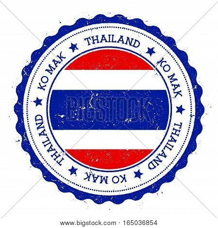 Ko Mak Flag Badge. Vintage Travel Stamp With Circular Text, Stars And Island Flag Inside It. Vector
