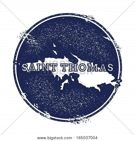 Saint Thomas Vector Map. Grunge Rubber Stamp With The Name And Map Of Island, Vector Illustration. C