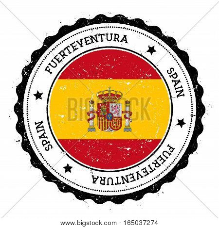Fuerteventura Flag Badge. Vintage Travel Stamp With Circular Text, Stars And Island Flag Inside It.