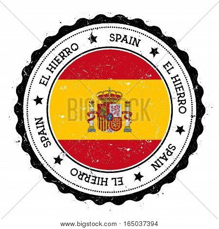 El Hierro Flag Badge. Vintage Travel Stamp With Circular Text, Stars And Island Flag Inside It. Vect