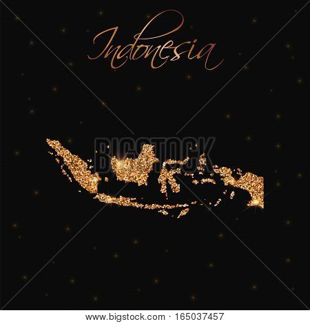 Indonesia Map Filled With Golden Glitter. Luxurious Design Element, Vector Illustration.