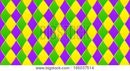 Traditional Mardi Gras diamond vector seamless pattern