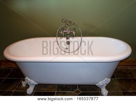 White luxury roll top bath tub against olive green background