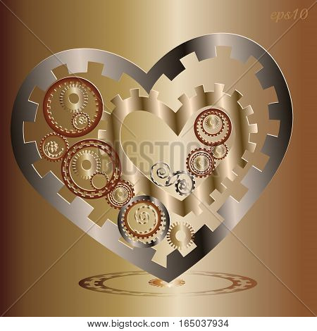 Two Mechanical heart image Abstract author card design mechanism metal parts copper cog transmission circle pattern style techno handmade valentine vector illustration eps10 stock