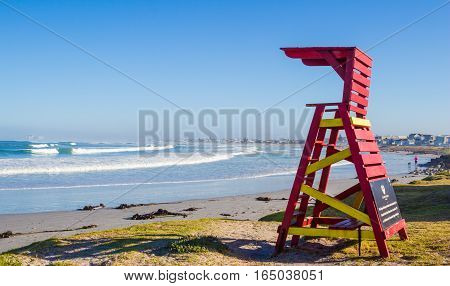 Early morning photo of open lifeguard tower on Atlantic Beach Melkbosstrand Western Cape South Africa