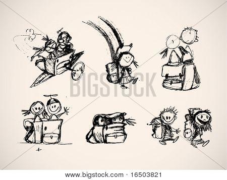 handgezeichnete skizzenhafte komische Elementen spielerisch Kinder