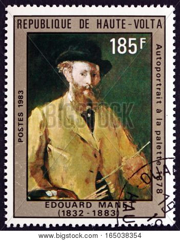 BURKINA FASO - CIRCA 1983: a stamp printed in Burkina Faso shows Self-portrait Painting by Edouard Manet French Painter circa 1983