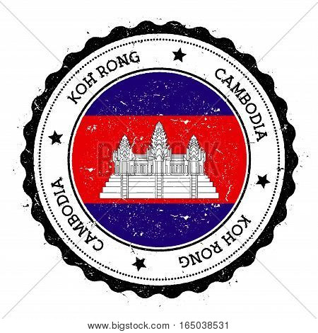 Koh Rong Flag Badge. Vintage Travel Stamp With Circular Text, Stars And Island Flag Inside It. Vecto