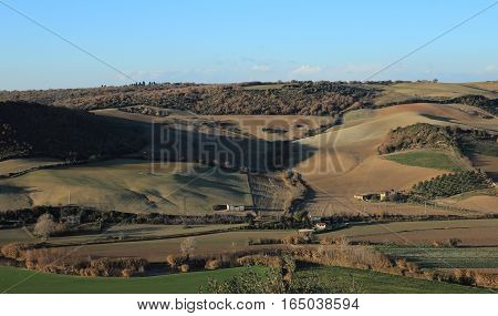 view of the country side from Tarquinia Italy
