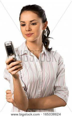 Woman with pursed lips looking at a cell phone