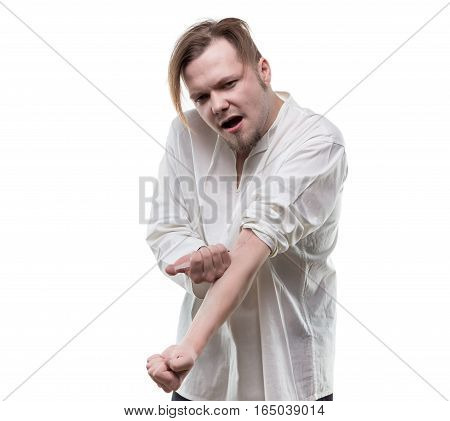 Addict blond man with heroin syringe on white background