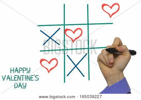 Happy Valentines day TIC-TAC-toe by xoxo written on the white Board