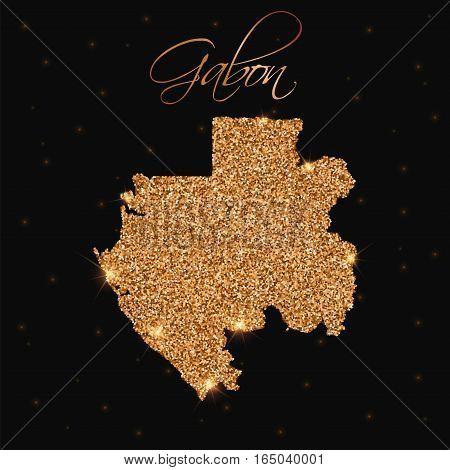 Gabon Map Filled With Golden Glitter. Luxurious Design Element, Vector Illustration.