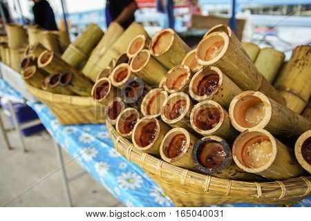 Glutinous rice baked in a bamboo - Khao Larm
