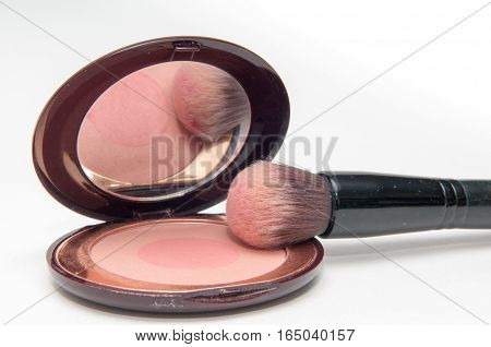 Cosmetic Make Up Close Up Of Make Up Brush And Case Isolated On White