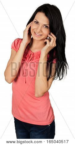 Friendly Young Woman Talking on Phone - Isolated